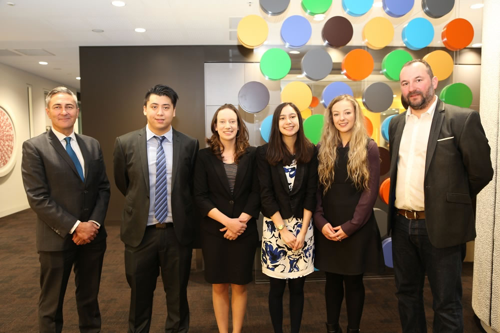 Prof Lawrence Pratchett, Pro Vice-Chancellor/Associate Vice-President (Students, Partnerships and International) and Iain McGuire, Partner, PwC with University of Canberra IBL students, Manuel, Lauren, Emily and Madison.